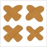 Ensemble d'adhésif, plâtre pour la peau foncée Bandage médical dans la forme différente Illustration de vecteur Image stock