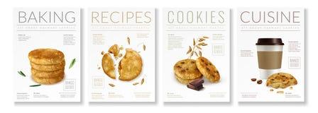 Ensemble d'affiche de biscuits d'avoine illustration stock