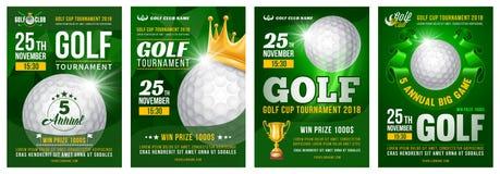 Ensemble d'affiche de golf illustration stock