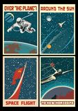 Ensemble d'affiches de l'espace de l'URSS de vintage image libre de droits