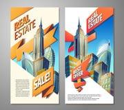 Ensemble d'affiches de la publicité à vendre des immobiliers Image libre de droits