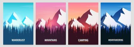 Ensemble d'affiches de montagnes Fond de paysage de nature avec des silhouettes des montagnes et des arbres Illustration de vecte illustration libre de droits