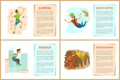 Ensemble d'affiches de Parkour de s'élever et de saut à l'élastique illustration stock