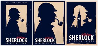 Ensemble d'affiches de Sherlock Holmes Illustration révélatrice Illustration avec Sherlock Holmes Rue 221B de Baker Londres GRAND Photo libre de droits