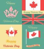Ensemble d'affiches de vintage pour Victoria Day Images libres de droits