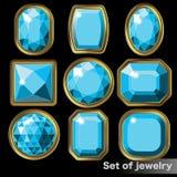 Ensemble d'aigue-marine bleue de gemmes de diverses formes Image libre de droits