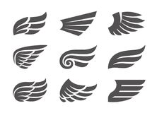 Ensemble d'ailes de vecteur Photos stock
