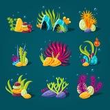Ensemble d'algues de bande dessinée, éléments pour l'aquarium illustration stock