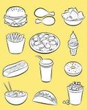 Ensemble d'aliments de préparation rapide Illustration Stock