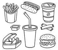 Ensemble d'aliments de préparation rapide Photographie stock libre de droits