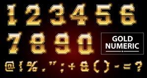 Ensemble d'alphabet d'or ou numérique facile de modifier 1 Photographie stock