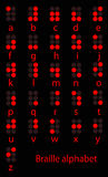 Ensemble d'alphabet rouge de braille Photos libres de droits