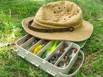 Ensemble d'amorces de silicone avec le chapeau du pêcheur s Photos stock