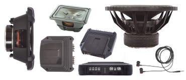 Ensemble d'amplificateur audio et de haut-parleur de voiture Photographie stock