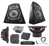 Ensemble d'amplificateur audio et de haut-parleur de voiture Image stock
