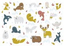 Ensemble d'animaux arctiques Personnages de dessin animé tirés par la main mignons Illustrations puériles de vecteur illustration libre de droits