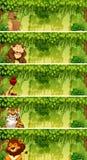 Ensemble d'animaux dans des scènes de jungle illustration stock