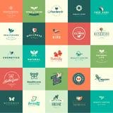 Ensemble d'animaux de conception et d'icônes plats de nature Images stock