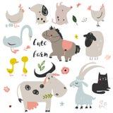 Ensemble d'animaux de ferme mignons illustration stock