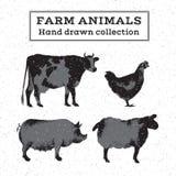 Ensemble d'animaux de ferme monochromes illustration de vecteur