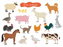 Ensemble d'animaux de ferme sur le fond blanc illustration de vecteur