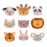 Ensemble d'animaux de sourire tirés par la main mignons Chat, lion, panda, chien, tigre, cerfs communs, lapin, souris et ours Zoo Photos stock