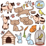 Ensemble d'animaux familiers tirés par la main mignons Images stock