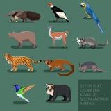 Ensemble d'animaux géométriques plats de l'Amérique du Sud Photo stock