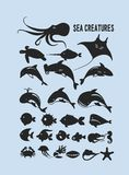 Ensemble d'animaux marins Photographie stock libre de droits