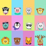 Ensemble d'animaux mignons de dessin animé Illustration de couleur de vecteur d'un blanc pour le calendrier illustration libre de droits