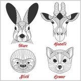 Ensemble d'animaux polygonaux Logos polygonaux Ensemble géométrique de lièvres, gazelle, paresse, lémur sur le blanc Photo libre de droits