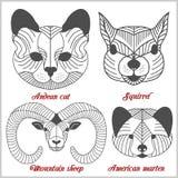 Ensemble d'animaux polygonaux Logos polygonaux Ensemble géométrique de moutons de montagne, chat andin, écureuil, martre américai Images stock