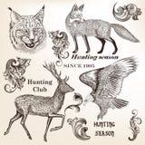 Ensemble d'animaux tirés par la main et de flourishes dans le style de vintage illustration stock