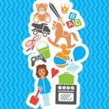 Ensemble d'anniversaire de boutique de cadeaux de jouets d'enfants, illustration de vecteur Photo stock