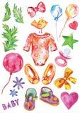 Ensemble d'anniversaire de vecteur d'aquarelle de bébé, décorations d'anniversaire avec le coeur, oiseau et chaussures illustration libre de droits
