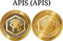 Ensemble d'API d'API d'or physiques de pièce de monnaie Photos stock