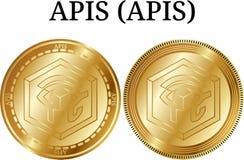 Ensemble d'API d'API d'or physiques de pièce de monnaie Photographie stock libre de droits