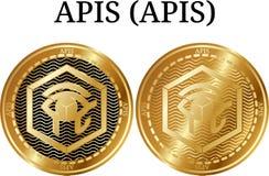 Ensemble d'API d'API d'or physiques de pièce de monnaie Image stock