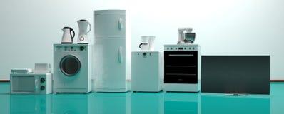 Ensemble d'appareils ménagers sur un plancher vert illustration 3D Photo libre de droits