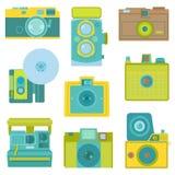 Ensemble d'appareils-photo plats de photo illustration de vecteur