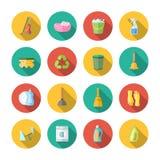 Ensemble d'appartement d'icônes de nettoyage illustration de vecteur