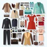 Ensemble d'appartement d'icônes de vêtements de femmes à la mode illustration de vecteur
