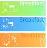 Ensemble d'appartement de bannière de petit déjeuner Photos stock