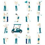 Ensemble d'appartement de personnes de golf Image libre de droits