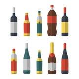 Ensemble d'appartement différent de bouteilles d'isolement Vin, bière, huile d'olive, coke et champagne photographie stock