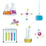 Ensemble d'approvisionnements utilisés en pharmacologie pour la préparation Images libres de droits
