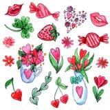 Ensemble d'aquarelle d'éléments pour le jour du ` s de Valentine illustration stock