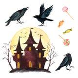 Ensemble d'aquarelle d'éléments pour la partie de Halloween Photo stock