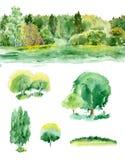 Ensemble d'aquarelle d'arbres Images stock