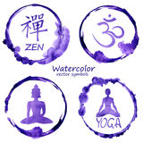 Ensemble d'aquarelle d'icônes de yoga et de bouddhisme Images stock